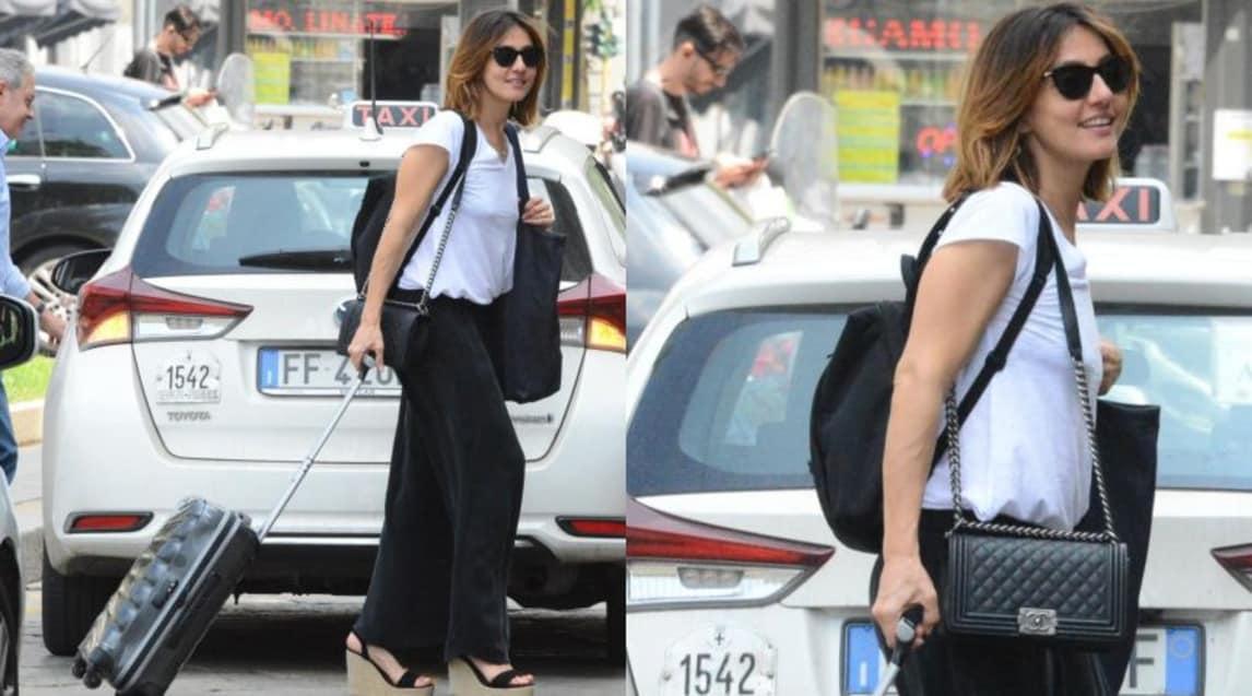 Le foto dell'attrice e showgirl Ambra Angiolini, in giro a Milano con i colori sociali della Juve