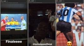 Champions League, Balotelli guarda la finale con Insigne e... Maradona
