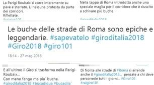 Roma, il Giro d'Italia fermato dalle buche: le reazioni dei social
