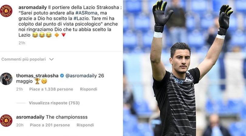 Lazio, per Strakosha battibecco social e scuse con i tifosi della Roma