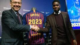 Umtiti rinnova col Barca, clausola da 500 milioni