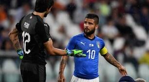 Italia-Olanda, Insigne con la fascia da capitano