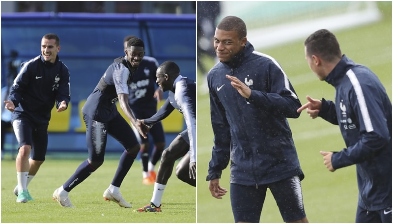 Mondiali: Griezmann e Mbappe scherzano durante l'allenamento della Francia