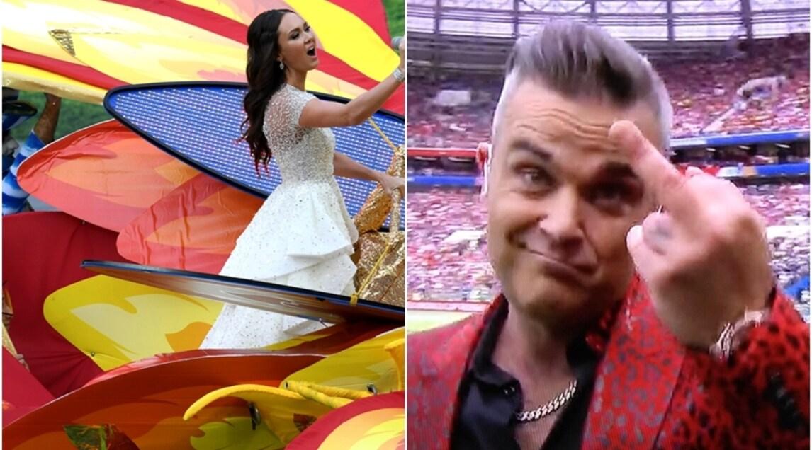 Grandi e coloratissime coreografie per la tradizionale kermesse di inizio torneo che ha visto esibrsi la popstar Robbie Williams in un duetto con la soprano Aida Garifullina. In campo anche il fenomeno Ronaldo