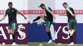 Portogallo, Cristiano Ronaldo show anche in allenamento