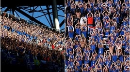 Le spettacolari immagini dei tifosi islandesi durante il 'Geyser Sound'