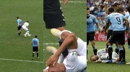 Francia-Uruguay, sceneggiata alla Neymar di Mbappé