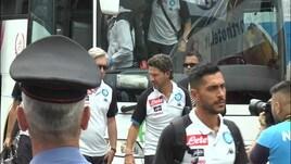 Napoli: l'arrivo della squadra nel ritiro di Dimaro