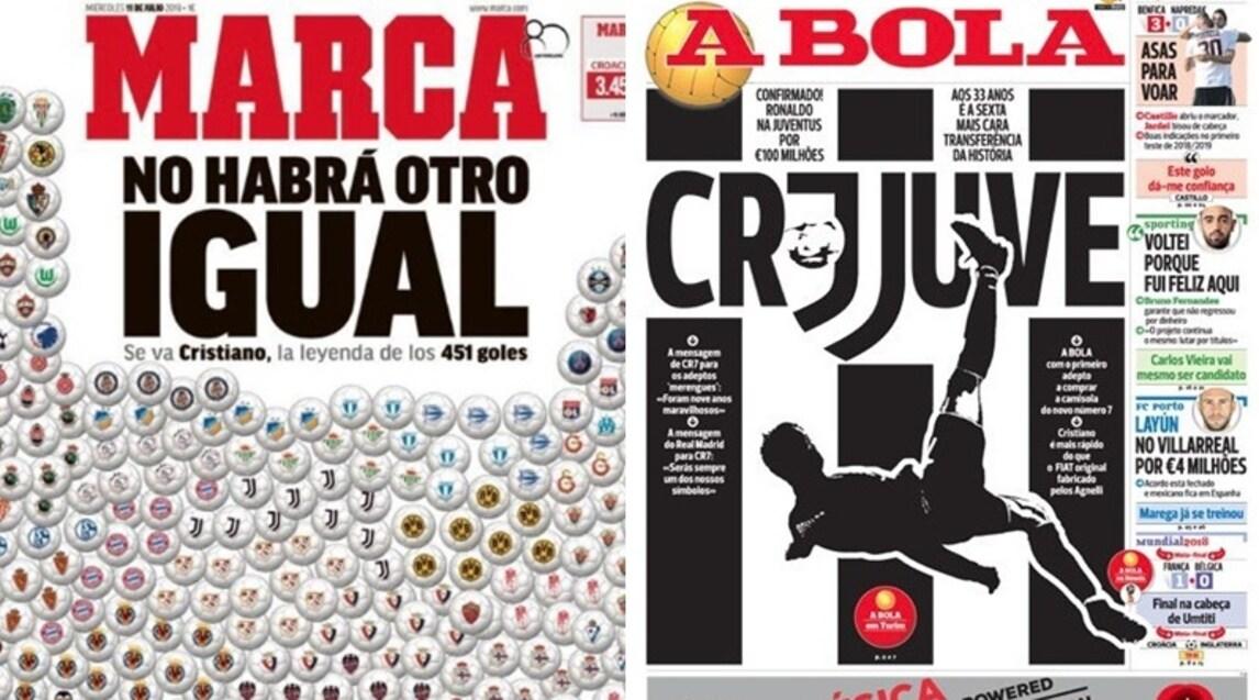 La notizia del colpo di mercato dei bianconeri è l'apertura dei quotidiani sportivi spagnoli e non solo