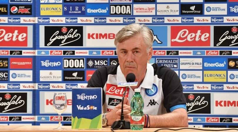 Napoli, la conferenza stampa di Ancelotti e De Laurentiis