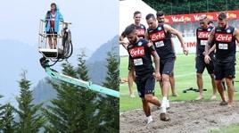 Una gru e l'allenamento sulla sabbia: le novità del ritiro del Napoli