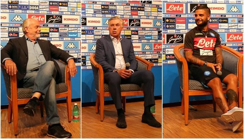 Napoli: Ancelotti, Insigne e De Laurentiis incontrano i tifosi