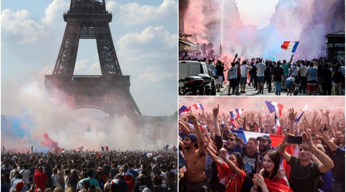 Caroselli, fumogeni, bandiere e la folla in festa sugli Champs-Elysées e nelle altre strade della capitale dopo la vittoria sulla Croazia