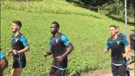 Lazio, giocatori al lavoro ad Auronzo