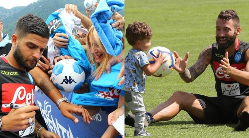 Napoli: Insigne firma autografi, Tonelli gioca col figlio