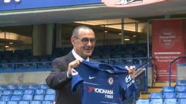 Sarri con la maglia del Chelsea