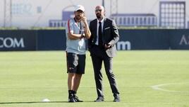 Roma, chiacchierata Di Francesco-Monchi durante l'allenamento