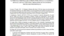 Ufficiale: Milan in Europa League, accolto il ricorso al Tas