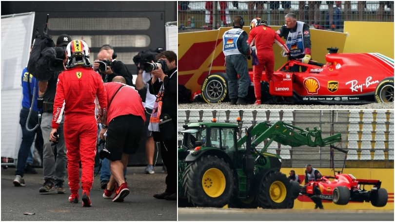 La Ferrari di Vettel contro le barriere: che regalo a Hamilton!