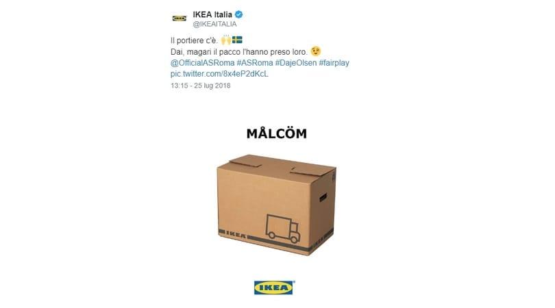 Ikea consola la Roma su Malcom:«Magari il pacco l'hanno preso loro»