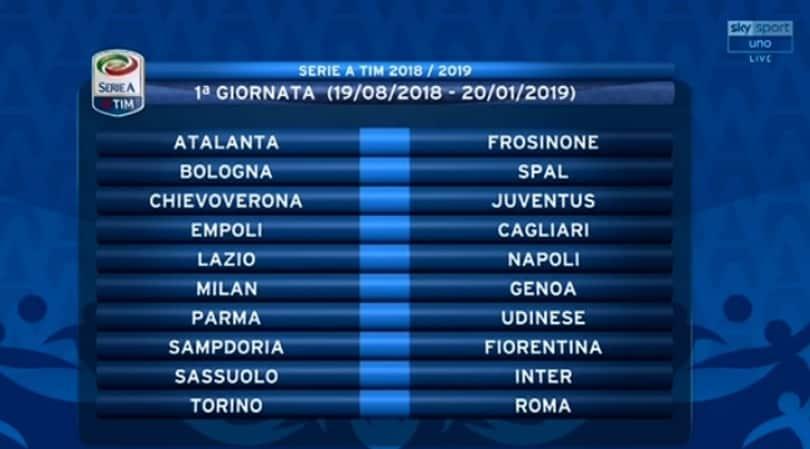 Calendario Serie A Sampdoria.Calendario Serie A 2018 19 Tutte Le Giornate Corriere