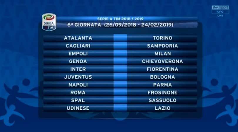 Serie A Calendario 6 Giornata.Calendario Serie A 2018 19 Tutte Le Giornate Corriere