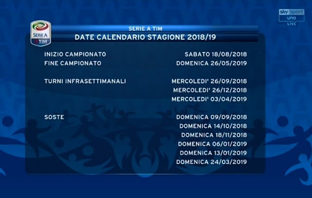 Serie A Suddivisione Delle Gare Date Soste Turni Infrasettimanali E Big Match Corriere Dello Sport