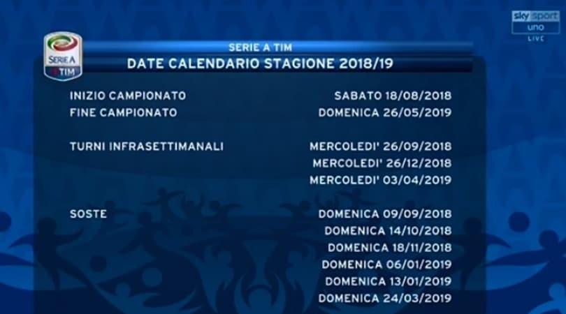 Calendario Serie A Su Sky.Serie A Suddivisione Delle Gare Date Soste Turni