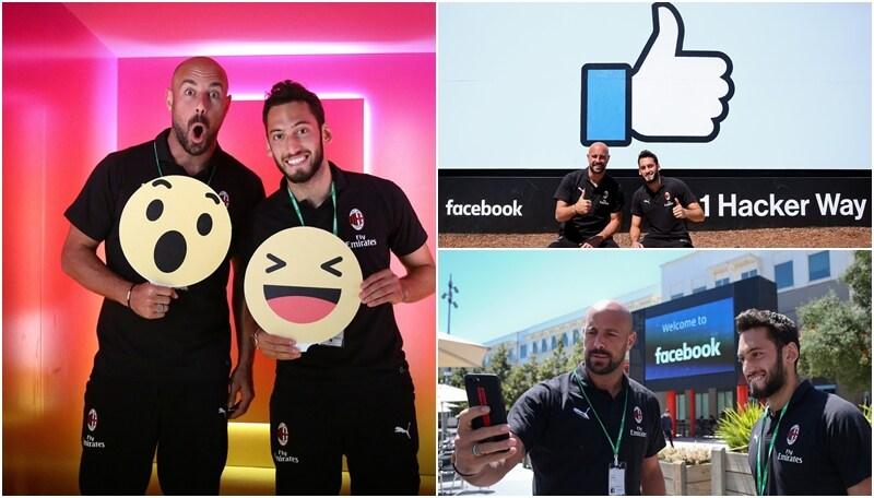 Milan, Smile e Like: la visita social di Calhanoglu e Reina alla sede di Facebook