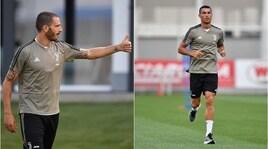 Juventus, il primo allenamento di Bonucci con Ronaldo