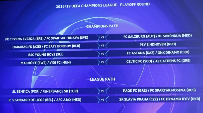 Champions League, sorteggiati gli accoppiamenti dei playoff