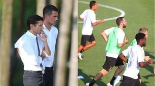Il Milan si allena davanti allo sguardo attento di Maldini e Leonardo