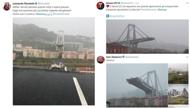 Le reazioni del mondo dello sport dopo il crollo del ponte Morandi nel capoluogo ligure