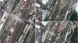 Genova, il crollo del Ponte Morandi visto dal satellite