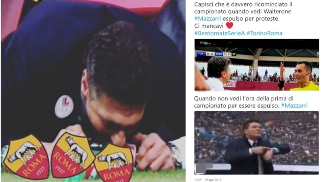 L'allontanamento del tecnico del Torino durante il match perso in casa contro la Roma fa impazzire il web