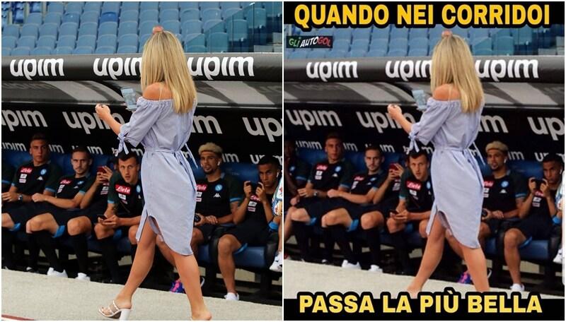 L'effetto Diletta Leotta sul Napoli, sui social la foto diventa virale