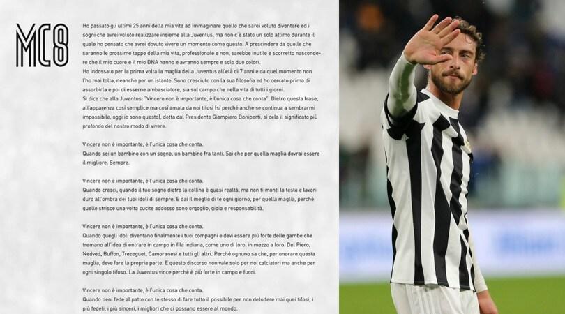 Juve, lettera d'addio di Marchisio: «Nel mio Dna solo due colori»
