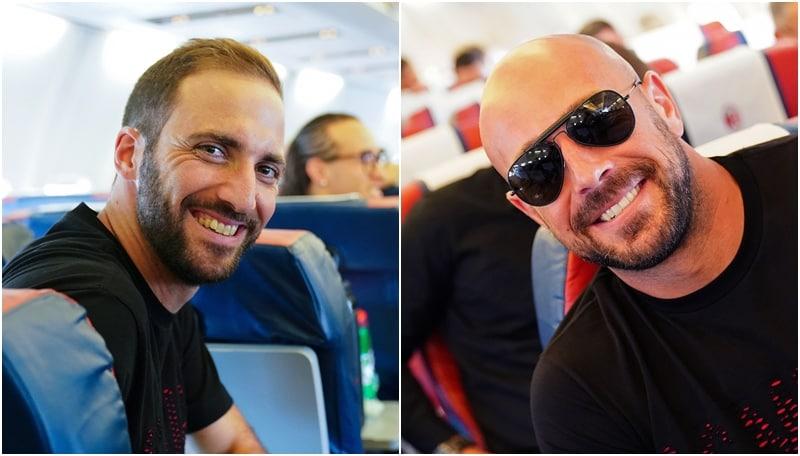 Milan, Higuain e Reina sorridenti verso Napoli