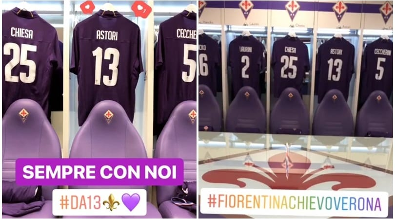 Fiorentina, la maglia di Astori dentro lo spogliatoio