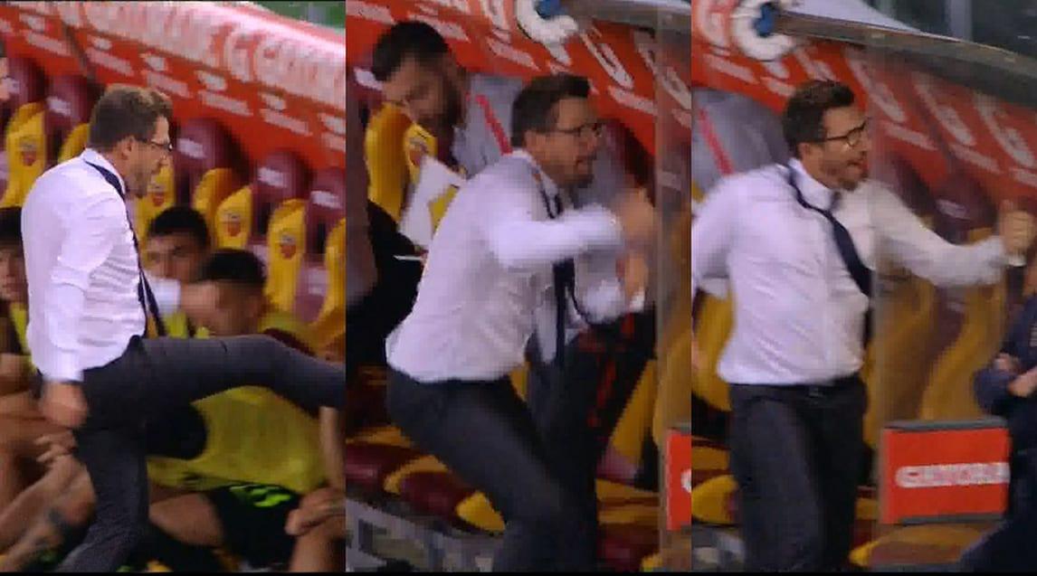 La Roma segna il 3-3, Di Francesco si sfoga sulla panchina