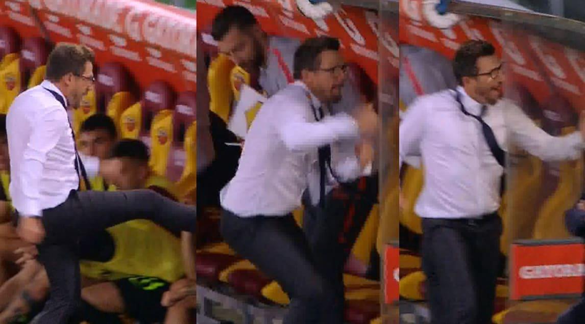 Il tecnico giallorosso reagisce così al gol segnato da Manolas all'82'