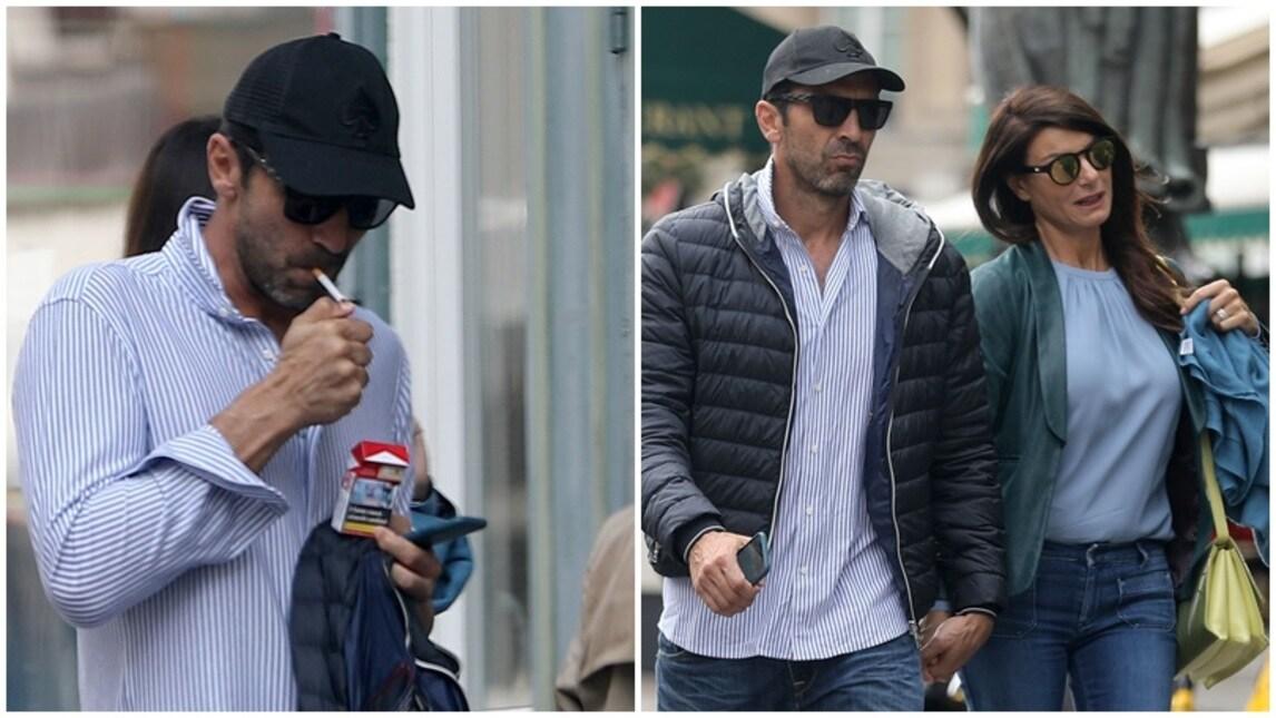 Il portiere del Psg, paparazzato in centro a Parigi mentre passeggia con la compagna Ilaria D'Amico, viene fotografato mentre fuma una sigaretta