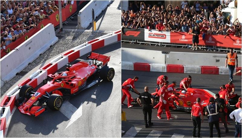 F1 Festival, incidente per la Ferrari di Vettel