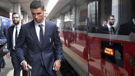 Juventus, Cristiano Ronaldo in treno a Parma