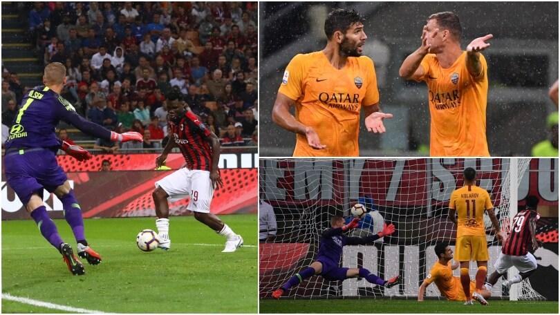 Milan-Roma: discussione Dzeko-Fazio dopo il gol di Kessie