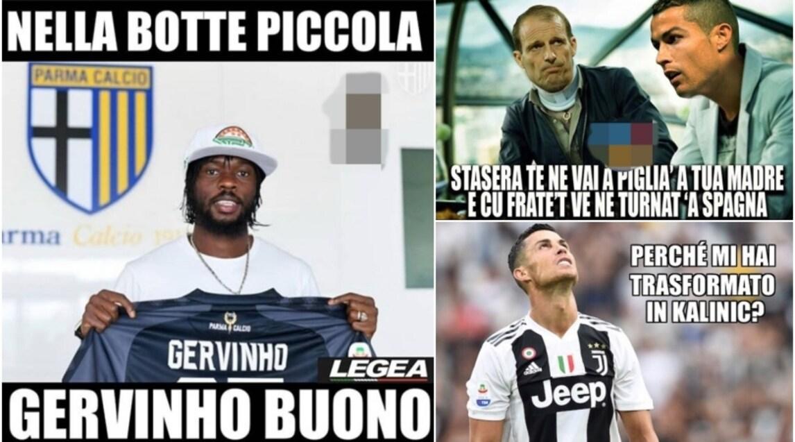 Dopo tre giornate nessun gol per CR7 e sul web dilagano le ironie, mentre viene osannato l'ex attaccante della Roma ora al Parma