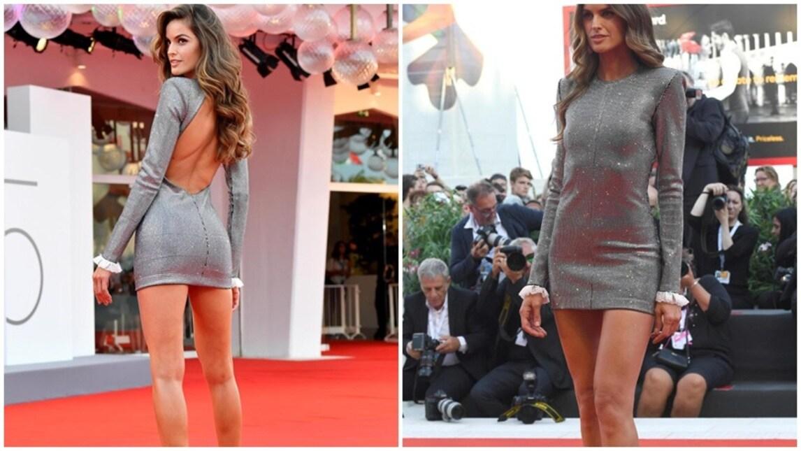 La modella brasiliana, fidanzata con il portiere del Psg Kevin Trapp, dà spettacolo a Venezia