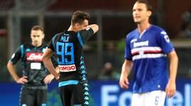 Napoli, prima sconfitta per Ancelotti: la Samp vince 3-0
