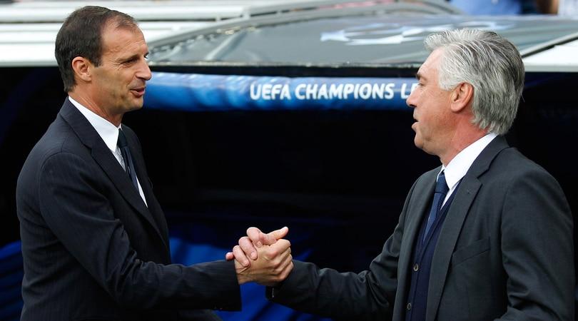 Allegri e Ancelotti, incontro al Forum Uefa di Nyon