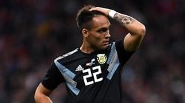 Argentina, Lautaro Martinez ko. L'Inter attende notizie